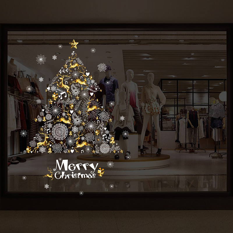 Creative gold elk white snowflake christmas tree stickers 2017 happy new year store home window decoration fashion sticker zp024 in wall stickers from home