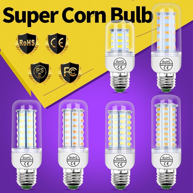 Led Corn Bulb E27 220V Led Lamp 5730 E14 3W 5W 7W 9W 12W 15W Led Candle Light Bulb 24 36 48 56 69 72leds Chandelier Warm/White