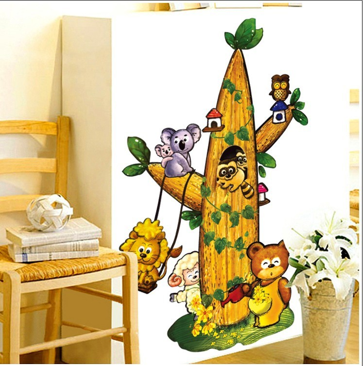 lovely funny Animals play on the tree children room kids bedroom decorative wall stickers bear bird sheep animals cartoon zoo