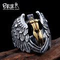 Beier new store 316L Stainless Steel high quality Man's Jewelry Winged Feather Angle Ring Cool Vintage BR8-050