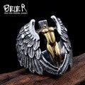 Beier nueva tienda de joyería de acero inoxidable 316l de alta calidad del hombre ángulo alas de plumas anillo fresco de época br8-050
