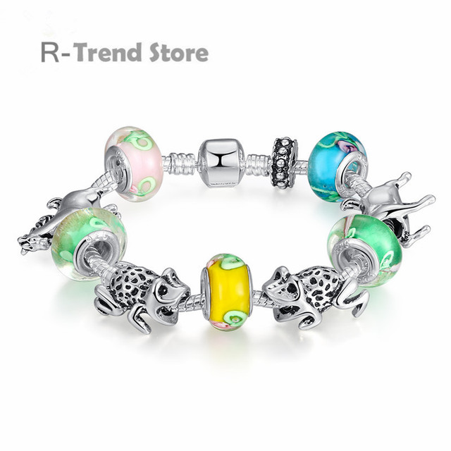 Frog Horse Charms Bracelet For Women Yellow Green Gl Beads Bracelets Bangles Female Vintage Diy Jewelry