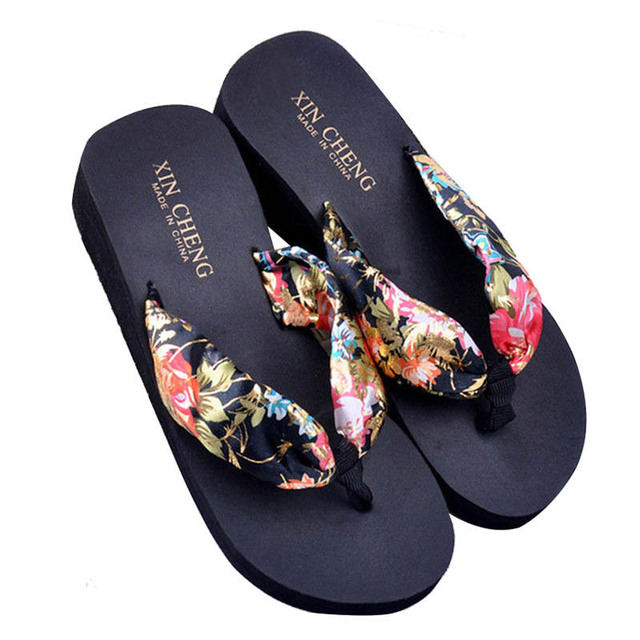 1f2c16996 Hot Fashion Black Women Bohemia Floral Beach Sandal Wedge Platform Thongs  Slippers Lady Flip Flops 36-in Flip Flops from Shoes on Aliexpress.com