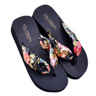 Hot Fashion Black Women Bohemia Floral Beach Sandal Wedge Platform Thongs Slippers Lady Flip Flops 36