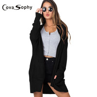 Cova Sophy 2017 Autumn Winter Women Fashion Cardigans Sweaters Long Sleeve Pockets Loose Casual Solid Cardigans