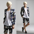 Mens Floral Suit 2017 Male Fashion Runway Style Suit Coat Men Slim Thin Flower Linen Suit Men's Flower Blazer