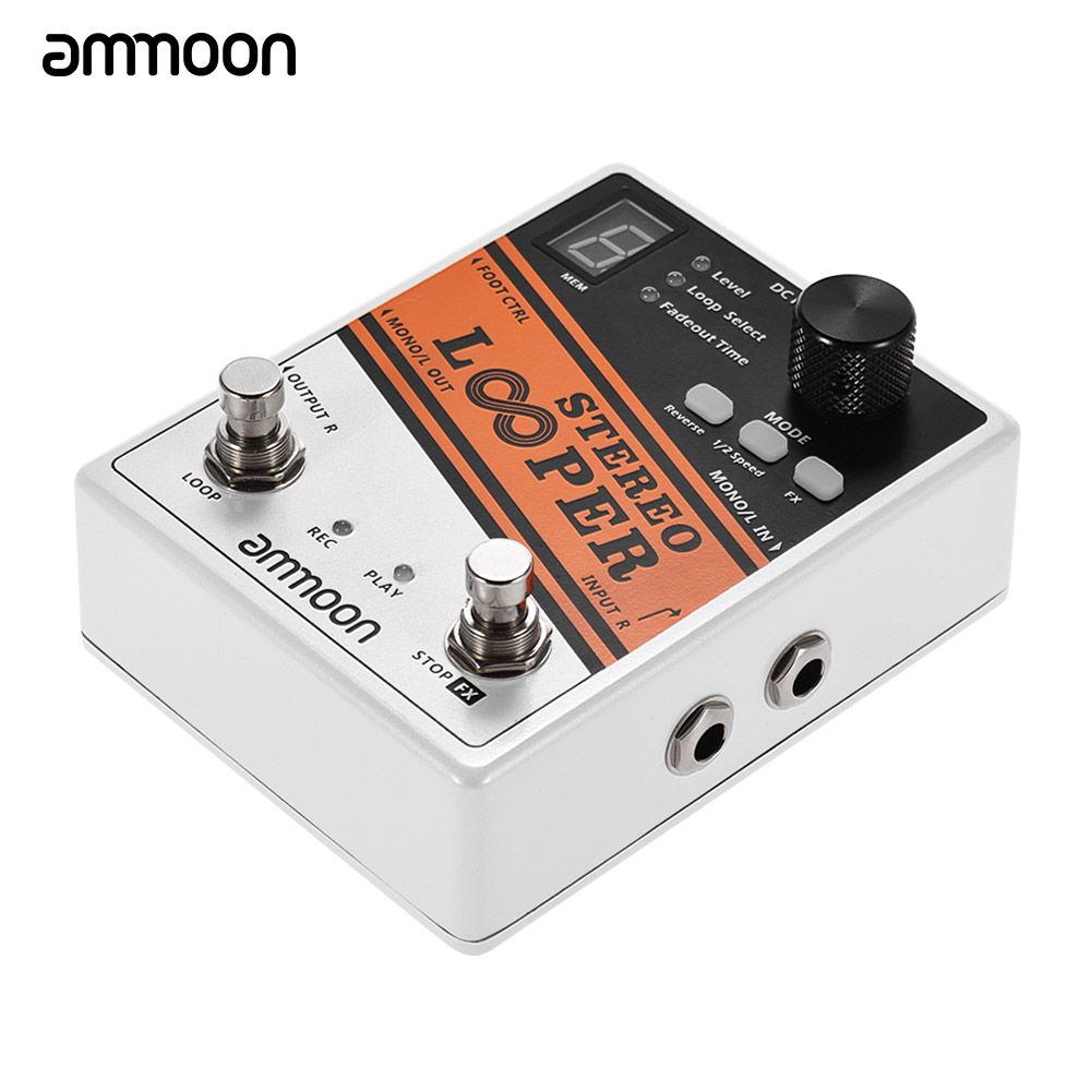ammoon STEREO LOOPER Guitar Pedal 10 Independent Loops Electric Guitar Effect Pedal 10min Recording Time Unlimited