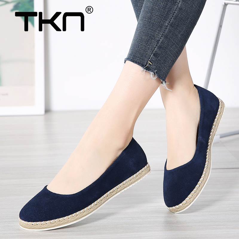 TKN 2019 Spring Women Ballet Flats Shoes Comfort   Leather     Suede   Slip on Chaussures Femme Flats Laides Loafers Shoes Woman 7022
