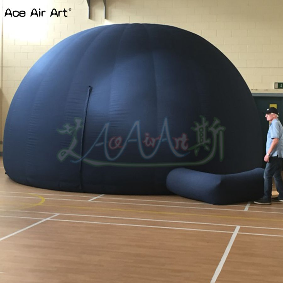 Hot sale black air show dome inflatable cinema tent,huge astronomic science star lab planetarium marquee with zipper door