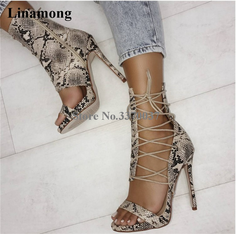 New Fashion Women Fashion Open Toe Snake Leather Lace-up Gladiator Sandals Cut-out High Heel Sandals Dress Shoes big size 10 cheap price name brand snake print leather lace up high heel sandals ankle tassel design cut out summer dress shoes