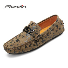 plardin New Summer loafers Comfortable Metal Decoration Appliques Sewing Flats Genuine Leather Man shoes Casual ballet