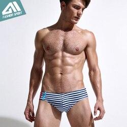 Новая летняя мужская одежда для плавания, спортивные мужские плавки, плавки с низкой посадкой, мужской купальник в полоску, мужской купальн... 2