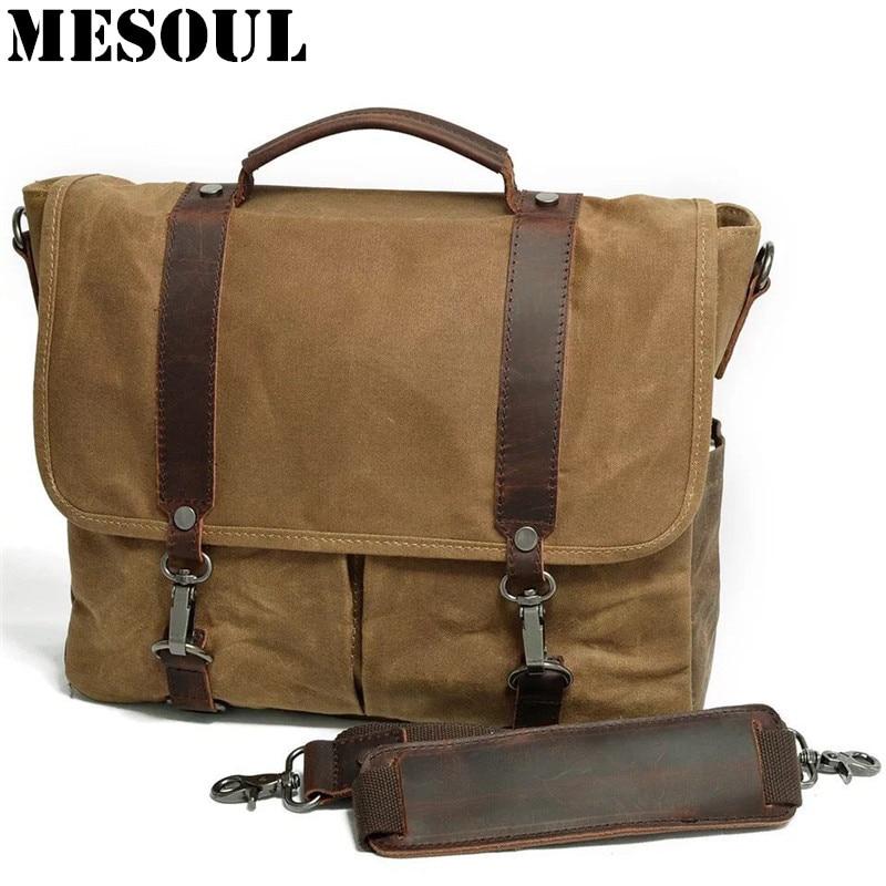 MESOUL Brand Canvas Men's Messenger Bags Waterproof Travel Male Shoulder Bag Casual Crossbody Bag Computer Handbag Laptop bag