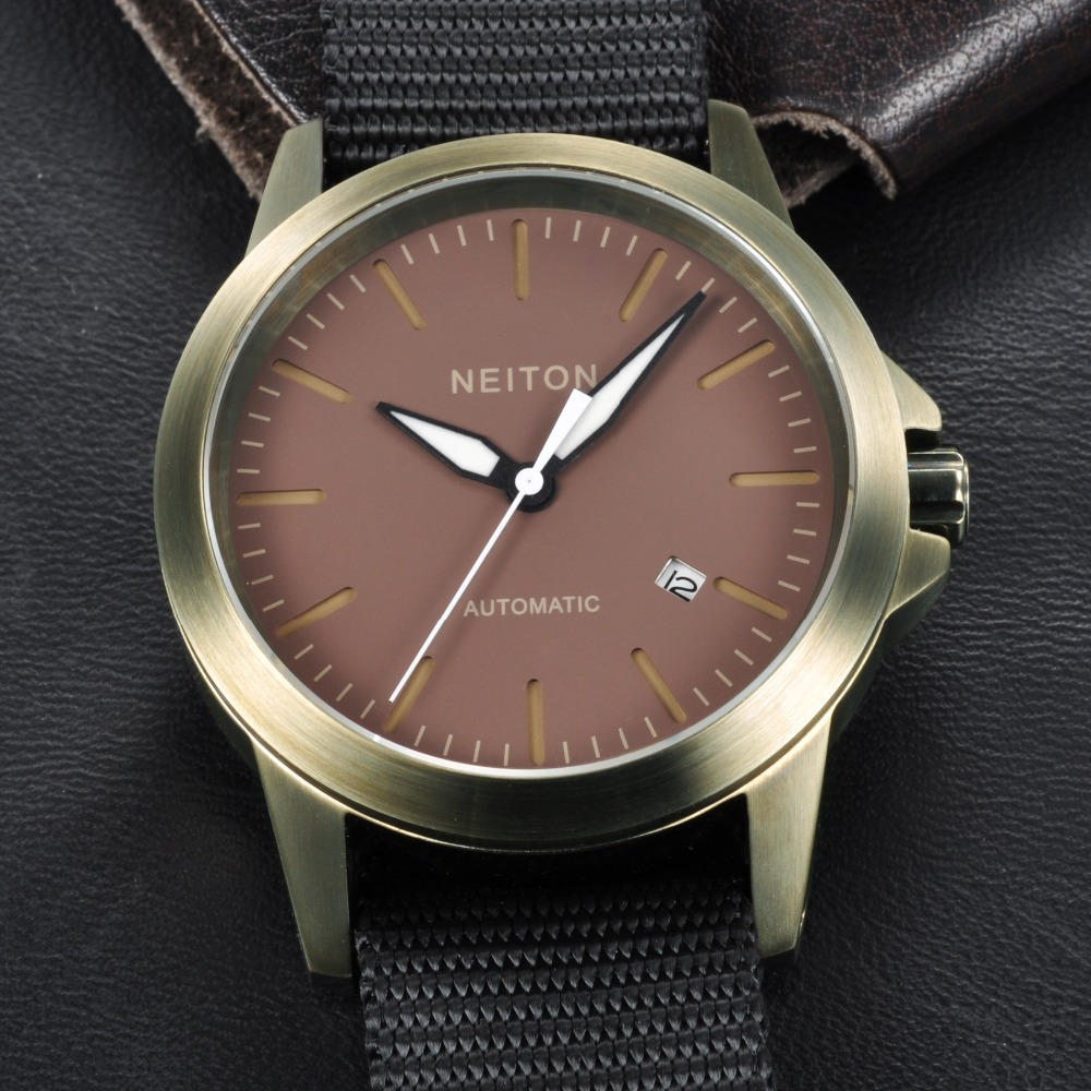 42mm Neiton Luminous Automatic Movement Men Waterproof Watch NA4201PC
