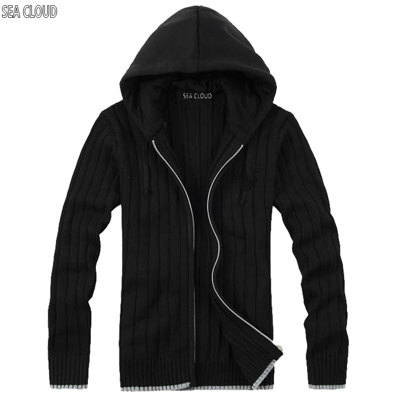 82 Autumn & winter plus size fat M-6XL european version male knitted zipper cardigan with hood long-sleeve sweater