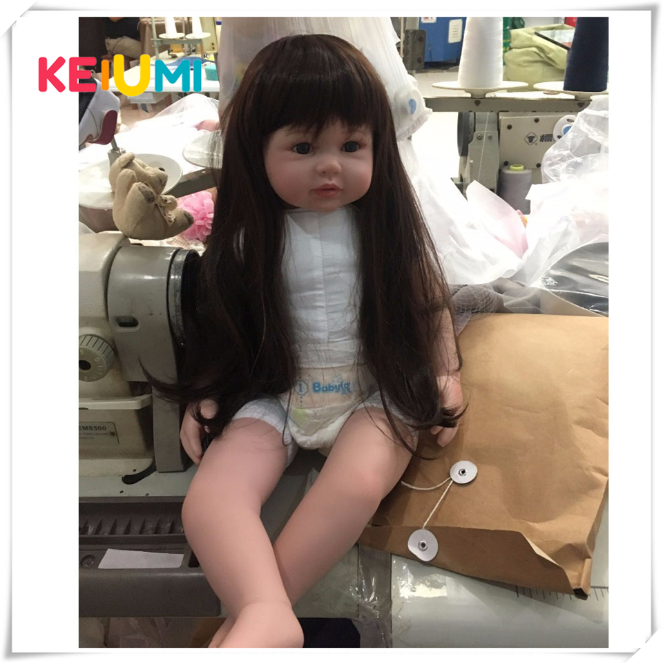 Wholesale Silicone Reborn Baby Doll Toys 22 inch with Long hair Realistic Baby Dolls 100% Handmade Girl Reborns Kids Playmates