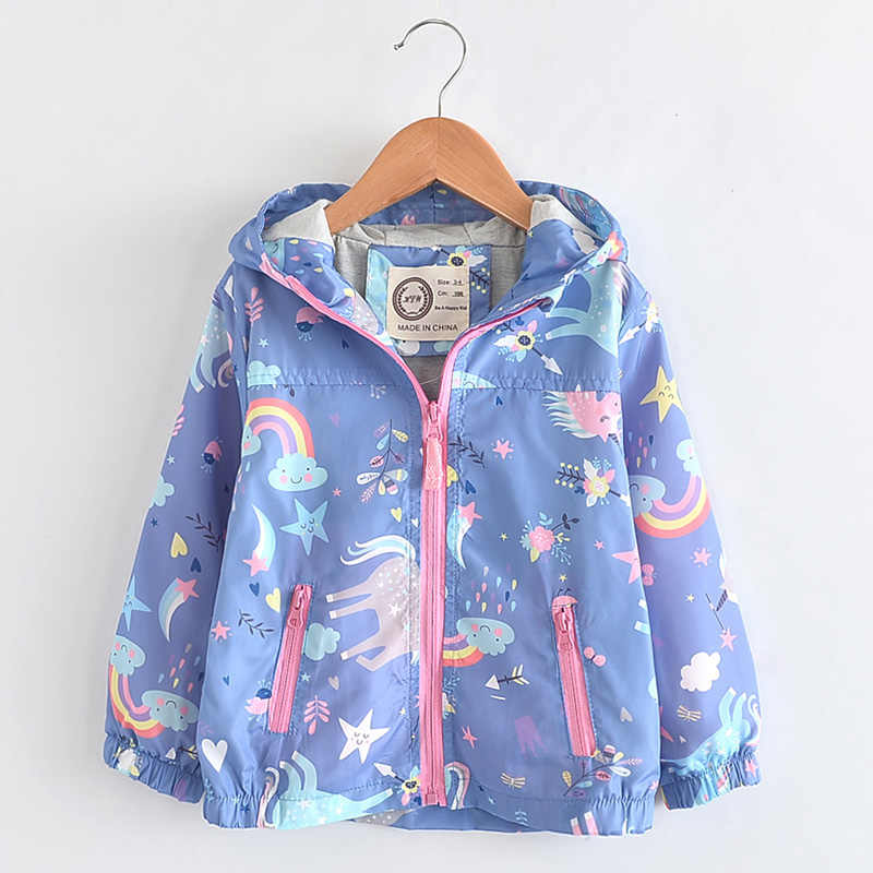 87ee53e16 New Spring Girls Jackets And Coats Hooded Unicorn Rainbow Pattern Kids  Windbreaker Jackets Autumn Jackets For