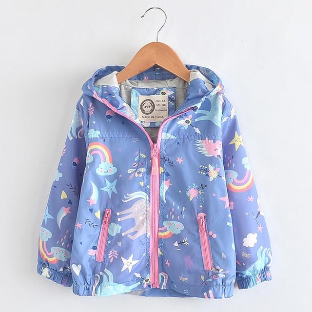 Neue Frühling Mädchen Jacken Und Mäntel Mit Kapuze Einhorn Regenbogen Muster Kinder Windjacke Jacken Herbst Jacken Für Mädchen Kinder Mantel