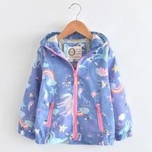 Nowa wiosna dziewczyny kurtki i płaszcze z kapturem jednorożec wzór tęczy dzieci kurtki przeciwdeszczowe kurtki jesienne dla dziewczyny dzieci płaszcz