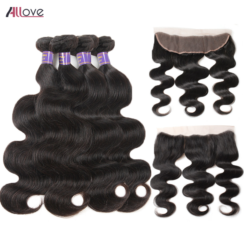 Allove Indian Body Wave Bundles With Frontal 4 Bundles With Frontal Remy Human Hair Ear To