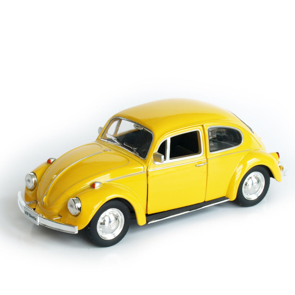 buy model car toy 1 32 scale yellow vw beetle 1967 vintage diecast pull back. Black Bedroom Furniture Sets. Home Design Ideas