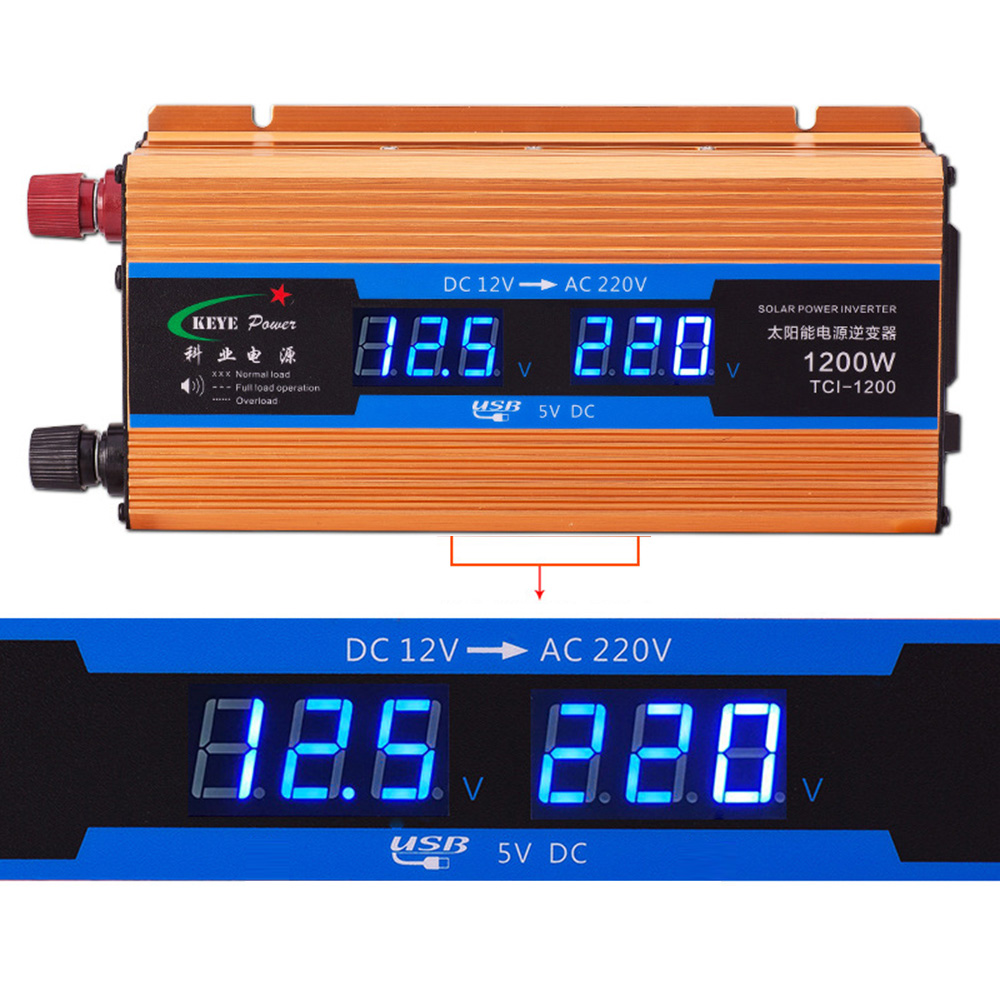 1200W Car Inverter 12 V 220 V Voltage Converter 12v To 220v Car Charger Volts Display CY892