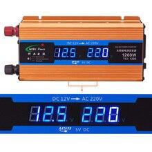 1200 Вт автомобильный преобразователь тока 12 В 220 В Напряжение преобразователь 12v постоянного тока до 220v автомобильный Зарядное устройство дисплей Вольт CY892