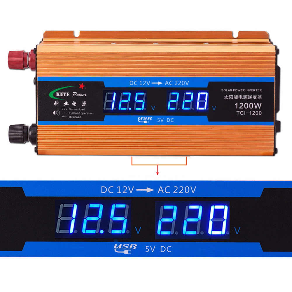 1200 w inversor do carro 12v 220v conversor de tensão 12v a 220v carregador de carro volts display cy892