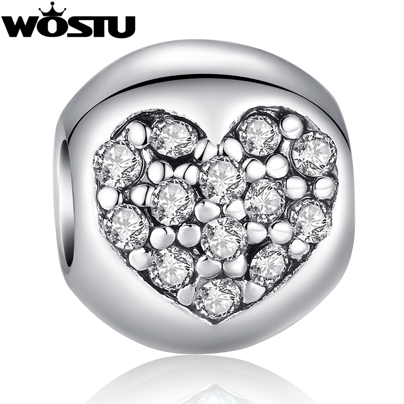 Hot Sale TOP Quality  Silver Heart Charm Beads with Crystal Fit Original wst Bracelet Pendants For Women DIY Jewelry SDP5283