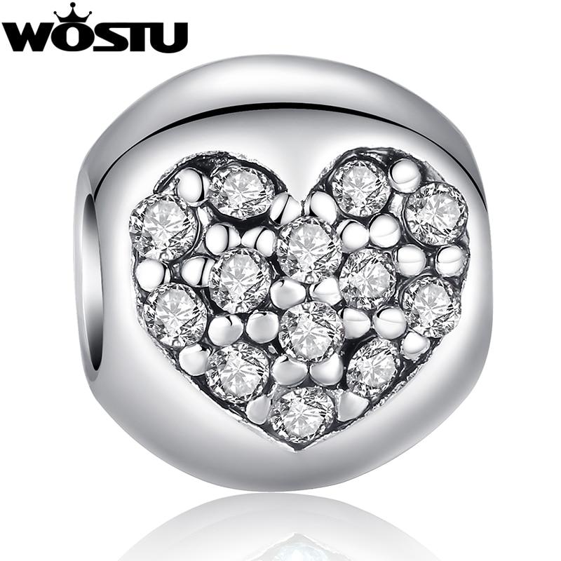 Hot Sale TOP Kvalitet Silver Heart Charm Pärlor med Crystal Fit Original WST Armband Hängsmycken för kvinnor DIY Smycken SDP5283