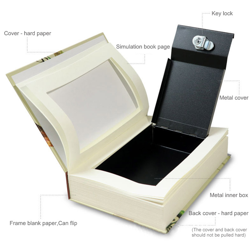 Book Safes Key Lock Type High Quality Secret Book Hidden Security Safe Box Metal Steel Simulation Classic Book Style Size M