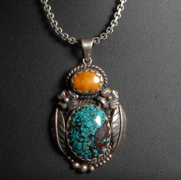 Handcrafted Old Nepalese 925 Silver Feather Pendant Necklace 925 Sterling Flower Pendant Bohemia Pendant Necklace