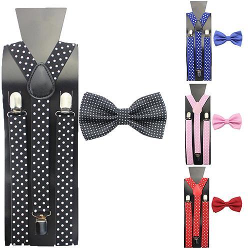 Kids Boys Girls Y-Shape Adjustable Braces Clip-on Wear Suspenders+Bow Tie Necktie