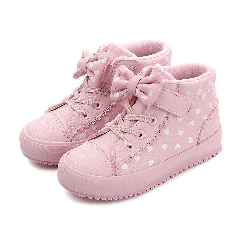 Children PU Leather Shoes Girls Sneakers High Top Polka Dot Bow Breathable Girls Boots 2019 New Winter Fashion Kids Casual ShoesChildren PU Leather Shoes Girls Sneakers High Top Polka Dot Bow Breathable Girls Boots 2019 New Winter Fashion Kids Casual Shoes