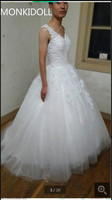 New Designer Ball Gown White Heavily Beading Wedding Dress Cap Sleeve Sheer Back Sexy Coset High