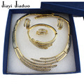 jiayi jiaduo Stylish African jewelry set For Women wedding accessories gift Plated Gold-plated necklace earrings bracelet rings