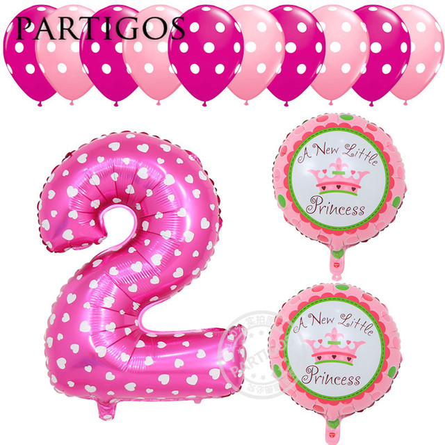 13pcs Lot Number 2 Years Old Baby Birthday Balloons 32inch Pink Blue Digit Foil Balloon Polka Dot Latex Globos Party Decor Gifts