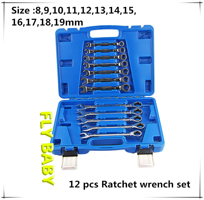 12PCS Combination Ratchet Wrench Set Hand Tool Wrench Car Auto Repair tool box combination Spanners wrench tool chave catraca сковорода гриль со съемной ручкой 26 см биол 1026с