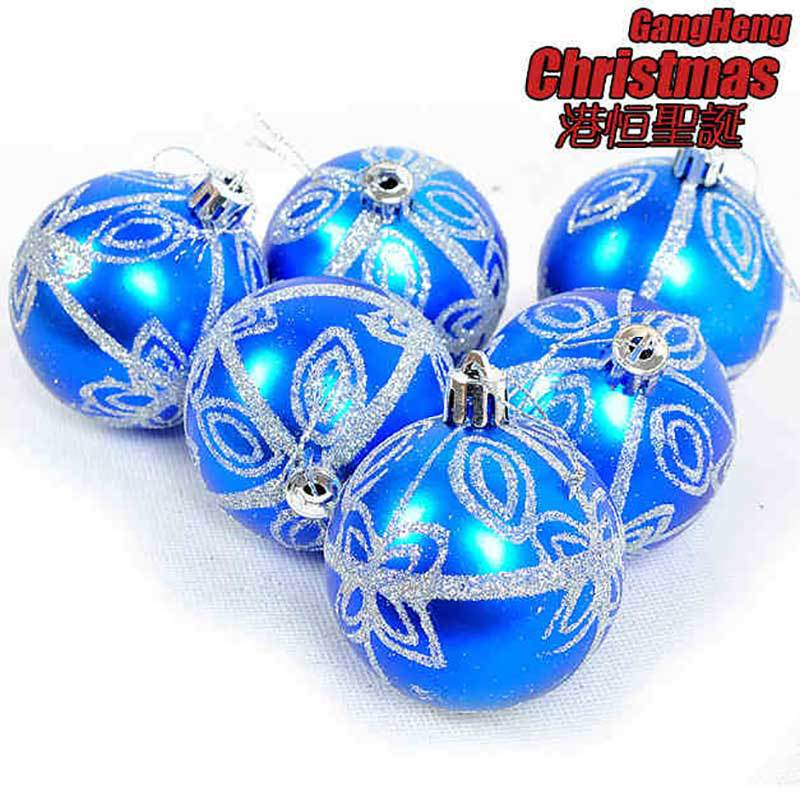 2015 christmas supplies 6cm blue christmas tree decorations ball painted silver hot stamp christmas ball 6pcslot in ball ornaments from home garden on - Blue Christmas Balls