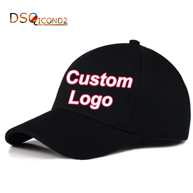 DIY Caps Printed Logo Baseball Hat Customized Caps For Women Men 2018 Visor Cap Printed Logo Hat Adjustable Hats DSQICOND2 tropic hats mesh cap w camouflage front and visor adjustable one size