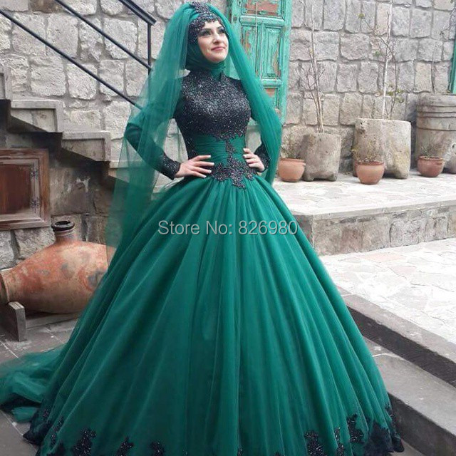 Long sleeve hijab islamic wedding dress 2017 black green two color long sleeve hijab islamic wedding dress 2017 black green two color beaded lace appliques arabic turkish muslim wedding dresses in wedding dresses from junglespirit Image collections