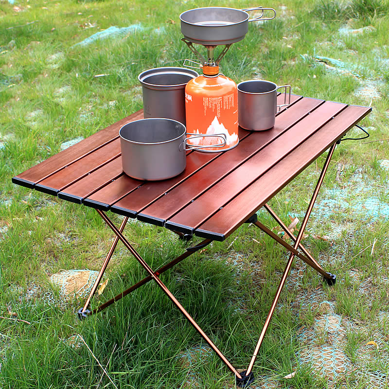 Portable Camping Side Tables With Aluminum Table Top: Hard-Topped Folding Table In A Bag For Picnic, Camp, Beach, Hiking Table