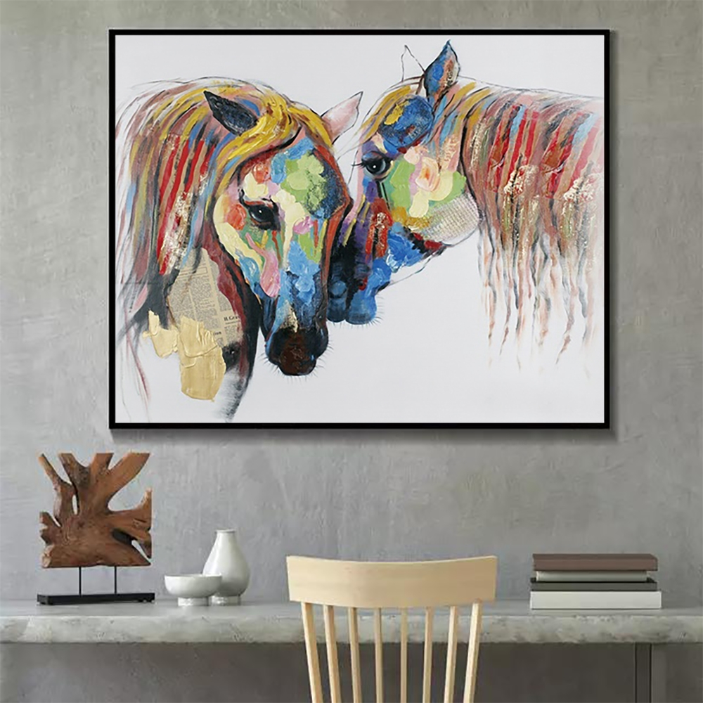 Laeacco Watercolor Horse Wall Artwork Animal Posters and Prints Modern Canvas Painting Nordic Home Decoration Living Room Decor in Painting Calligraphy from Home Garden