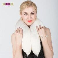 ホット販売リアル毛皮フォックス毛皮の襟ホワイト女性スカーフショール首輪ラップすくめネック冬暖かいリング毛皮スカーフ女性卸