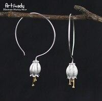 Artilady Handmade 925 Sterling Silver Earrings Gold Bud Flower Canterburybells Earrings For Women Jewelry Party