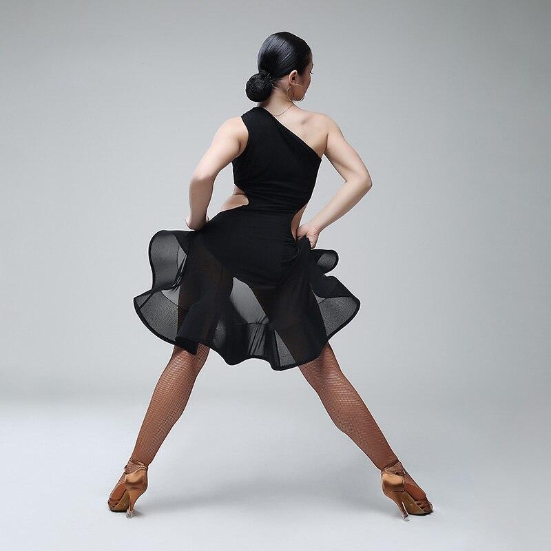 Black latin dance competition costumes lady latin dress fringe salsa dance clothes sexy tango dress board rumba latin dance wear