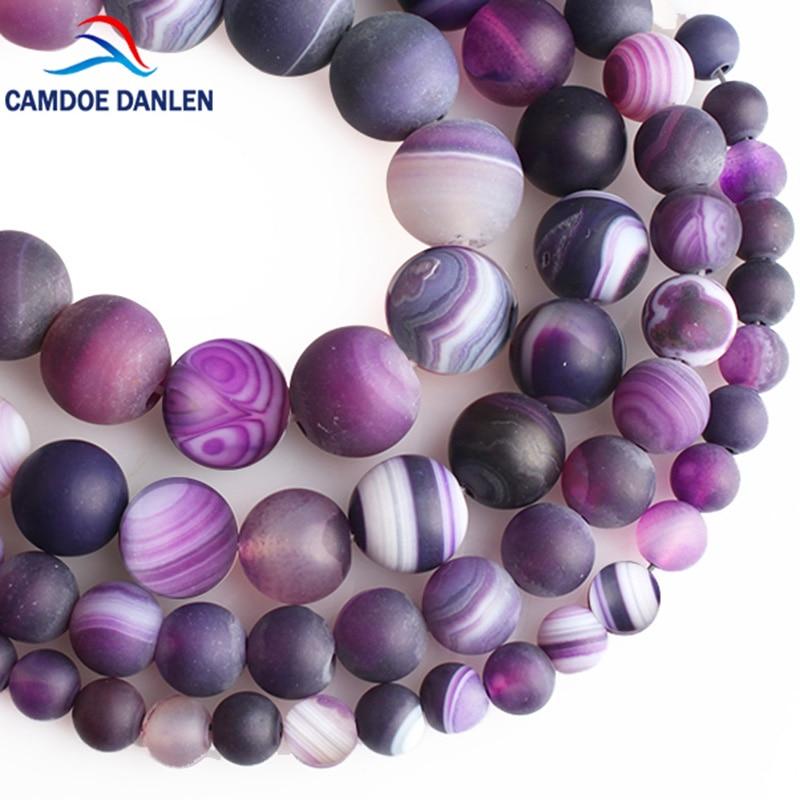 CAMDOE DANLEN Natural Agates Dull Polish Matte Purple Stripe Round Loose Beads 6/8/10/12MM Fit Diy Fashion Charm Jewelry Making