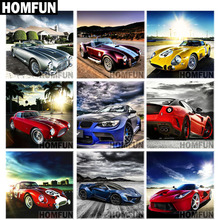 """HOMFUN Full Square/Round Drill 5D DIY Diamond Painting """"Racing car landscape"""" 3D Embroidery Cross Stitch 5D Home Decor Gift"""