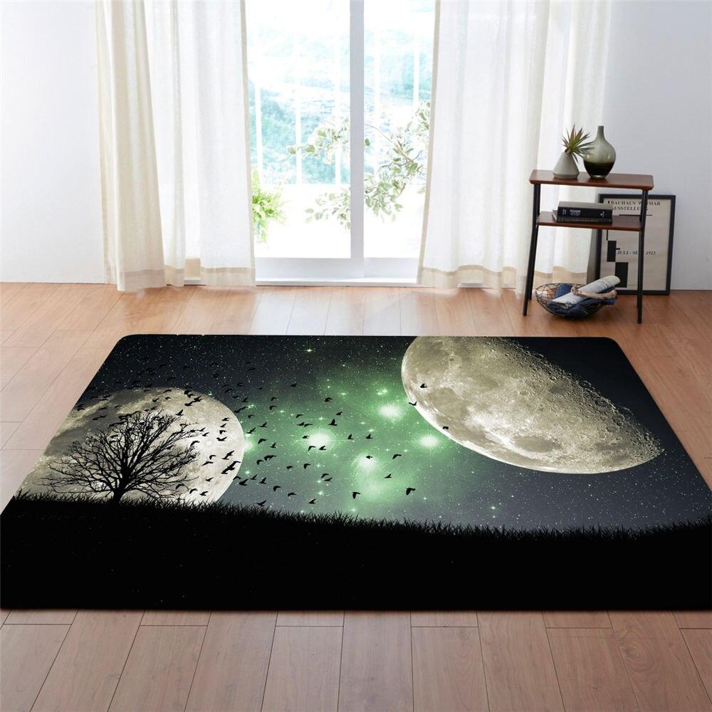 Europeus e Americanos 3D Universo Lua Decoração Grande Área Tapete Tapetes Sala de estar Macio Flanela Meninos Presente Quarto Tapetes de Carpete tapetes