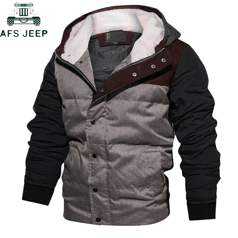AFS JEEP   Parkas   Men Jacket Winter Casual Slim Warm Thick Fur collar jacket Hooded Coat Outerwear High Quality Flight Jacket